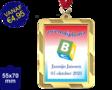 Zwemdiploma B  - Supermedaille Rechthoekig  Goud